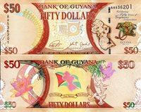"""Guyana 50 Dollars Pick #: 41 2015 UNCOther Commemorative Note - 50 Years of Guyana's Independence Brown Crest; Map; 50 Year Logo with Leopard's Head; Flag; Birds; FlowersNote 6"""" x 2 1/2"""" South America Head of Macaw"""