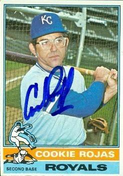 Cookie Rojas Autographed Baseball Card Kansas City Royals 1976 Topps 311
