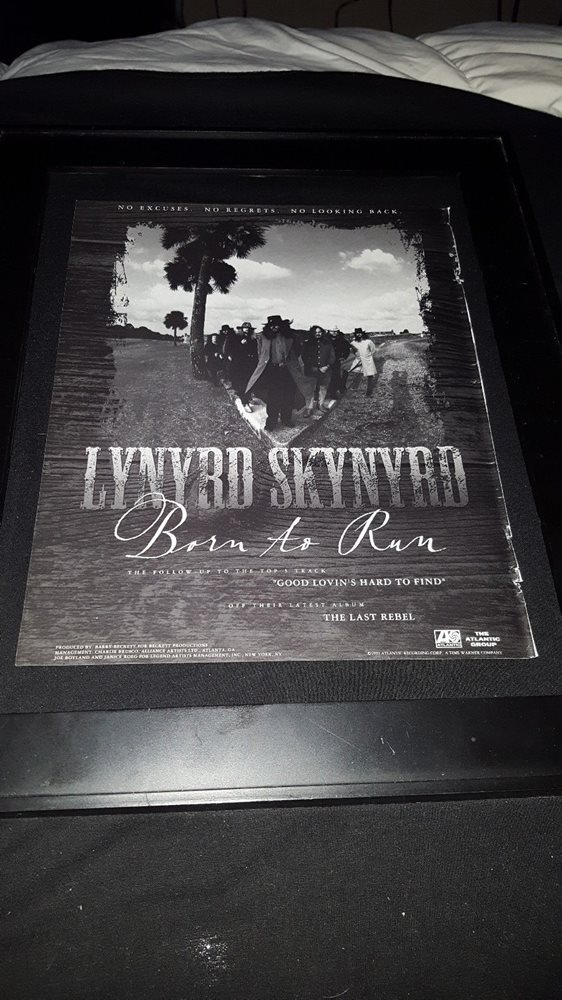 Lynyrd Skynyrd Born To Run Rare Original Radio Promo Poster Ad Framed!