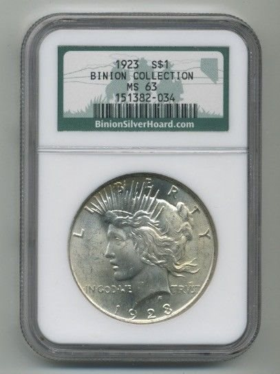 1923 $1 Silver Peace Dollar NGC MS64