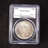 1922 Silver Peace Dollar, PCGS Certified MS64, Gem Uncirculated
