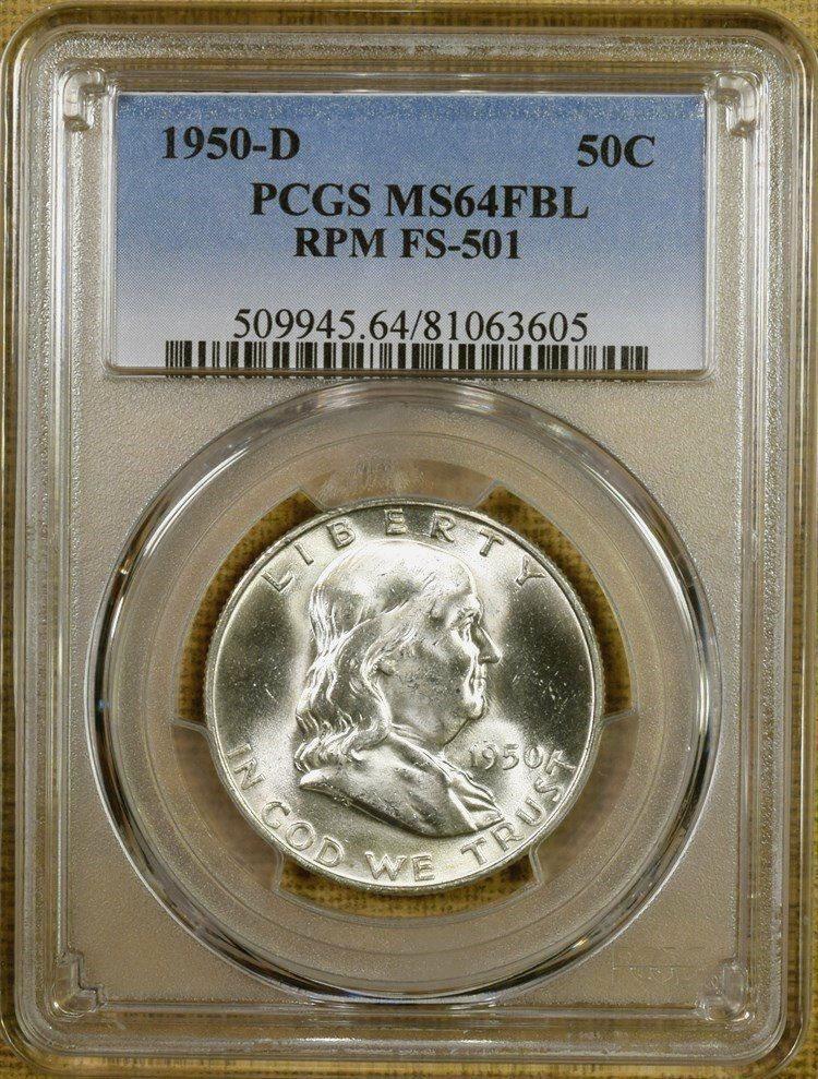 100/% White 1950 PCGS MS65 FBL Franklin Half Dollar