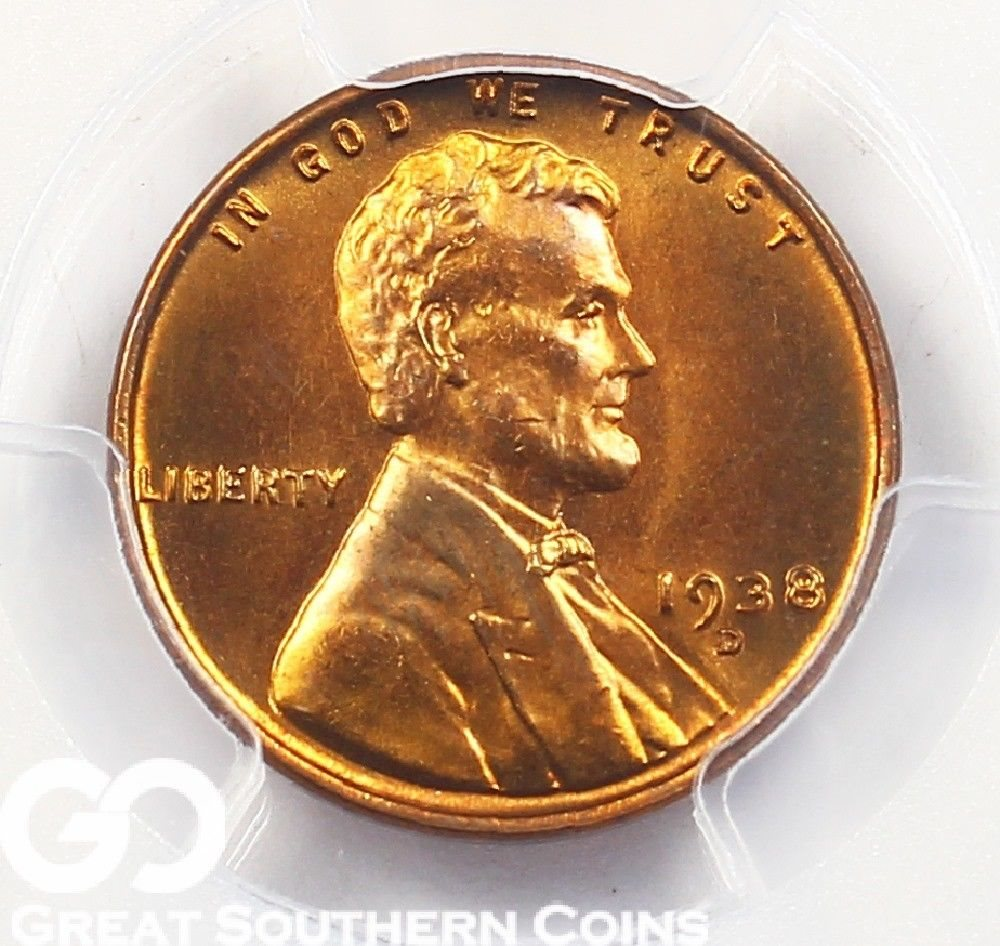 MINT STATE RED*  *FREE SHIPPING* MS RED 1958 D Wheat Cent Penny *BU