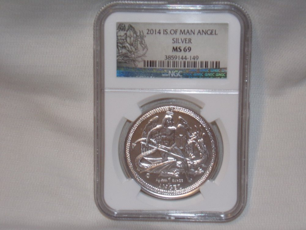 2014 Isle of Man 1 oz Silver Angel Coin NGC MS70