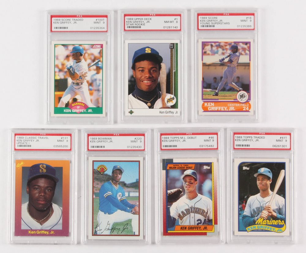 Lot Of 7 Psa Graded Ken Griffey Jr Rookie Year Cards With 1989 Upper Deck 1 Rc Psa 8 1989 Topps Traded 41t Rc Psa 9 1989 Score Young