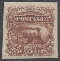 United StatesScott #114-E6b (2014, Value $85.00). Unused, VLH, VF. 3c locomotive imperforate plate essay in brown rose.Stamp #46819 | Price: $70.00Add To Cart