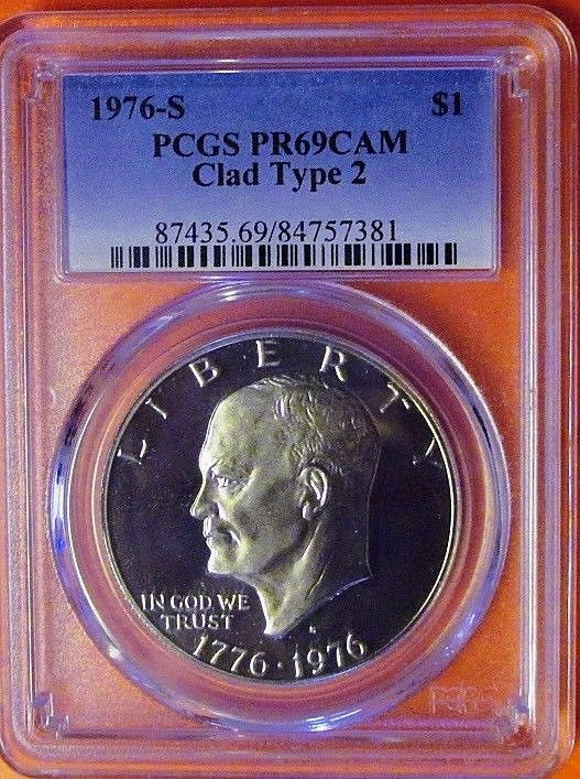 1976-S Clad Type 2 Eisenhower Dollar PCGS PR69DCAM A Top Ike Source in the USA