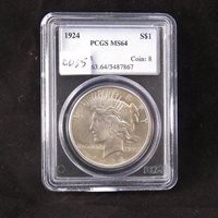 1924 Silver Peace Dollar, PCGS Certified MS64, Gem Uncirculated