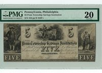 1830's $5 Penn Township Savings Institution PMG Certified Very Fine 20 - Nice