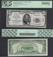 $5 1929 Ty I NBN=WATERVILLE (ME)=CH.880 B000001=SN# 1=PCGS CH. ABOUT NEW 55 PPQ