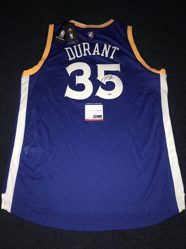 8b881deab Kevin Durant Autographed Signed Warriors Adidas Swingman Autographed Signed  Basketball Jersey Memorabilia PSA DNACUSTOM FRAME. Click To Enlarge