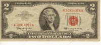 1963 $2 US Note, Red Seal, Medium to High Grade Note (J-46)