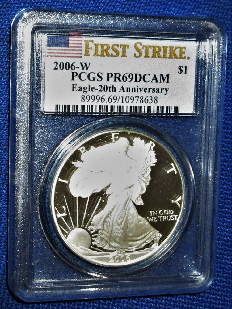 2006-W 1oz Proof Silver American Eagle PR70 PCGS Blue