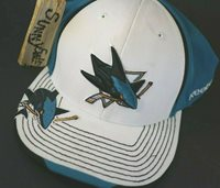 newest collection d781f 6ead8 NHL San Jose Sharks Hat Reebok L XL Flex Fit Stretch Embroidered Cap white