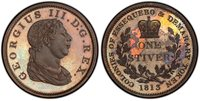 ESSEQUIBO & DEMERARY George III 1813 AE Stiver. PCGS PR64BN. KM 9.
