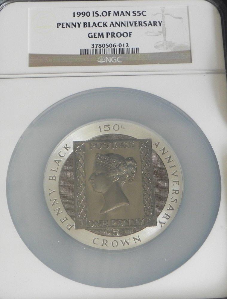 1990 Isle of Man 5oz Silver Penny Black Anniversary NGC