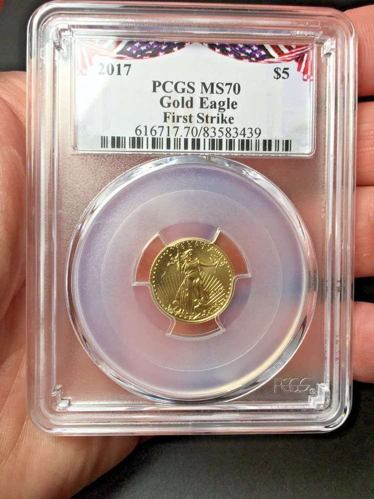 2019 $5 Gold Eagle PCGS MS70 First Strike Bunting Label