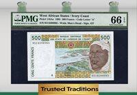 500 Francs 1995 West African States / Ivory Coast Pmg 66 Epq Pop One