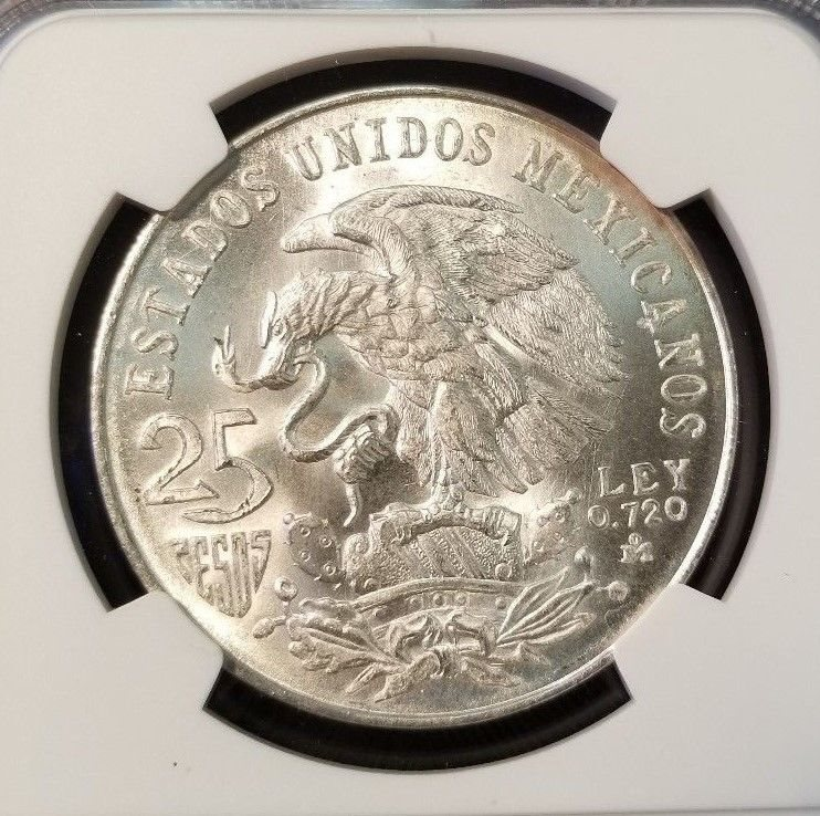1968 MEXICO SILVER 25 PESOS OLYMPICS EVEN RINGS NGC MS 65 SHARP FROSTY COIN