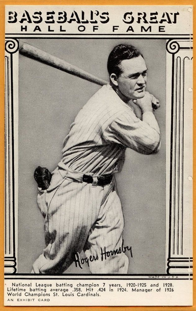Baseball Exhibit Card Of Rogers Hornsby