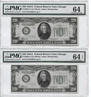 FR 2055-G 1934A $20 FEDERAL RESERVE NOTE PMG 64- 2 CONSECUTIVE