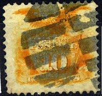 US Scott Number 116 10¢ 1869. Fancy cork cancel. Price $125 USD