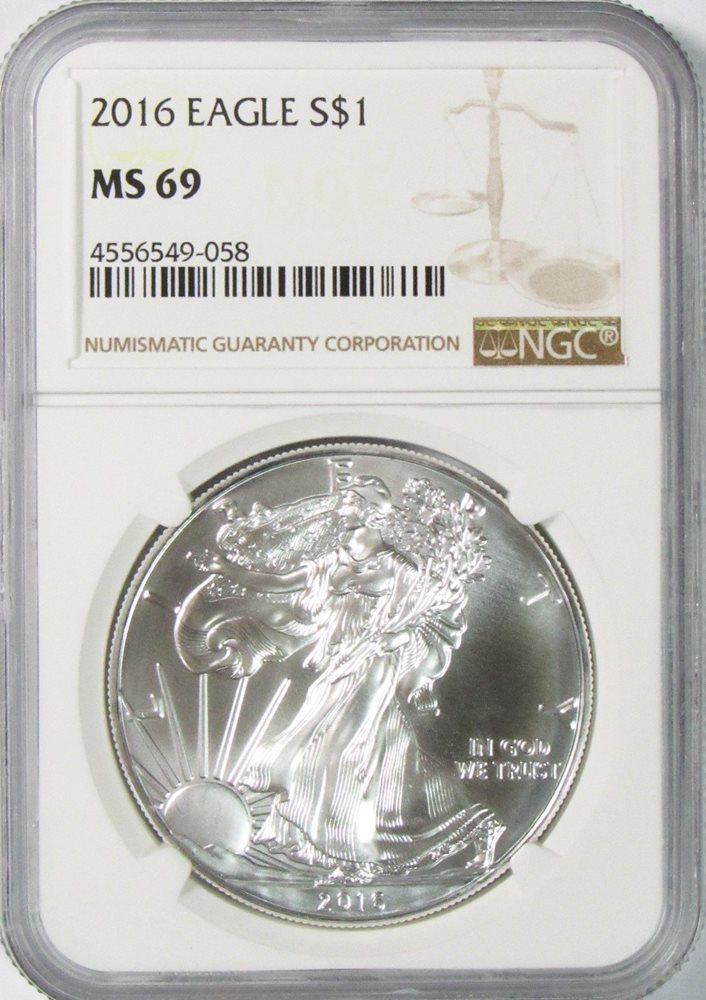 $1 American Silver Eagle NGC MS70 Brown Label 2016 S