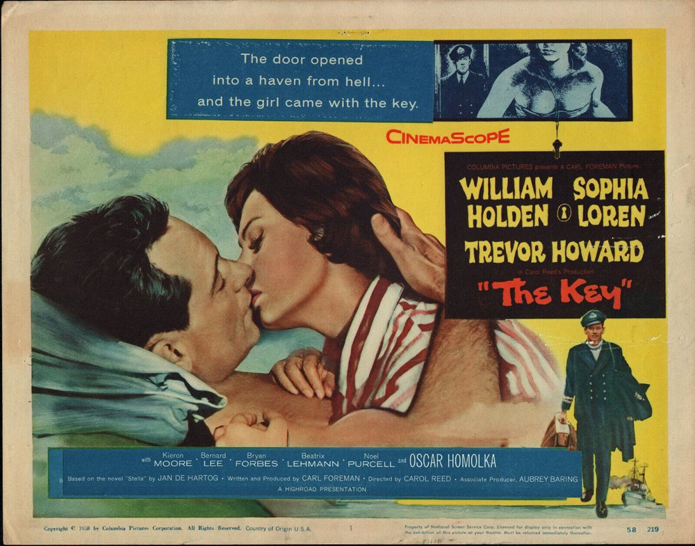 THE KEY original 1958 movie poster WILLIAM HOLDEN/SOPHI