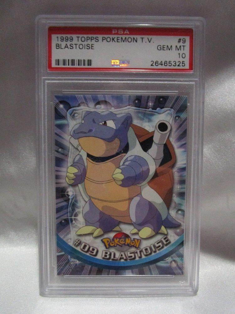 PSA 10 GEM MINT Blastoise Topps Series 1 Pokemon TV Card #9 Red Logo back  M10