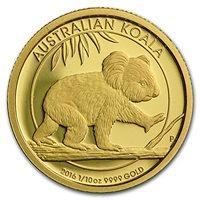 Australia 2016 Proof Koala $15 1//10oz .9999 Pure Gold coin 1500 mintage with OGP