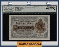 50 Pence 1969 Falkland Islands Queen Elizabeth Ii Lcg 68 Ppq Superb!