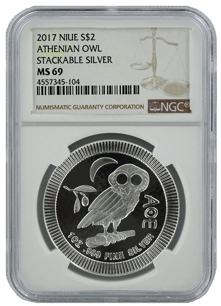 Brown Label 2018 Niue 1oz Silver Owl Of Athena Coin NGC MS70