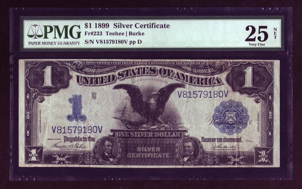 1899 Black Eagle 1$ Silver Certificate Fr-233 PMG 25 Ve