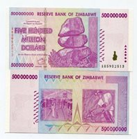 ZIMBABWE 2008 500 MILLION MONEY BANKNOTE UNC - P 82 - CURRENCY AB PREFIX