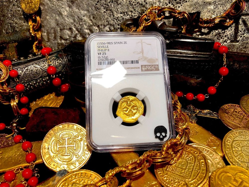 SPAIN 2 ESCUDOS 1556-98 PHILIP II NGC 25 PIRATE GOLD COINS TREASURE DOUBLOON
