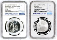 2016 Britannia Silver Reverse Proof 2-coin set 1oz NGC PF69 ER Early Release !