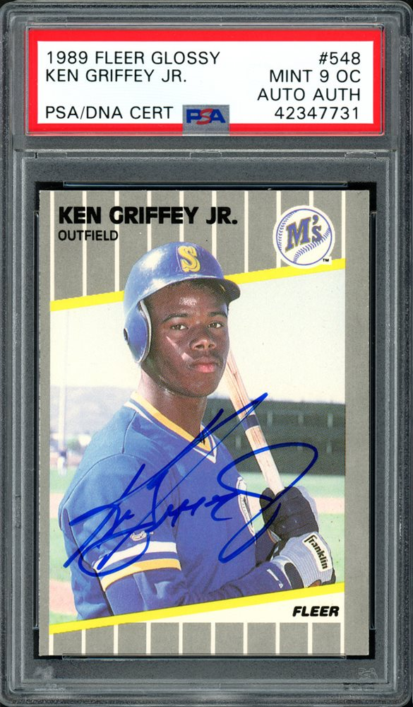 Ken Griffey Jr Autographed Signed 1989 Fleer Glossy Rookie Card 548 Seattle Mariners Mint 9 Oc Psadna Authenticcustom Frame Your Jersey