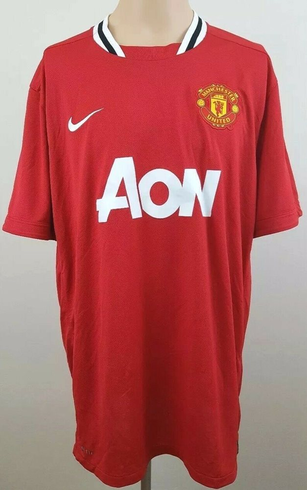 the best attitude 78cda d6eb8 NIKE DRI FIT Manchester United AON Mens Red Soccer Jersey / Shirt Size XXL