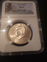 2013-D NGC MS 67 KENNEDY HALF DOLLAR *** NGC SUPERB BRILLIANT UNCIRCULATED ***