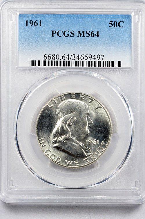 1961 D Franklin Silver Half Dollar PCGS MS64