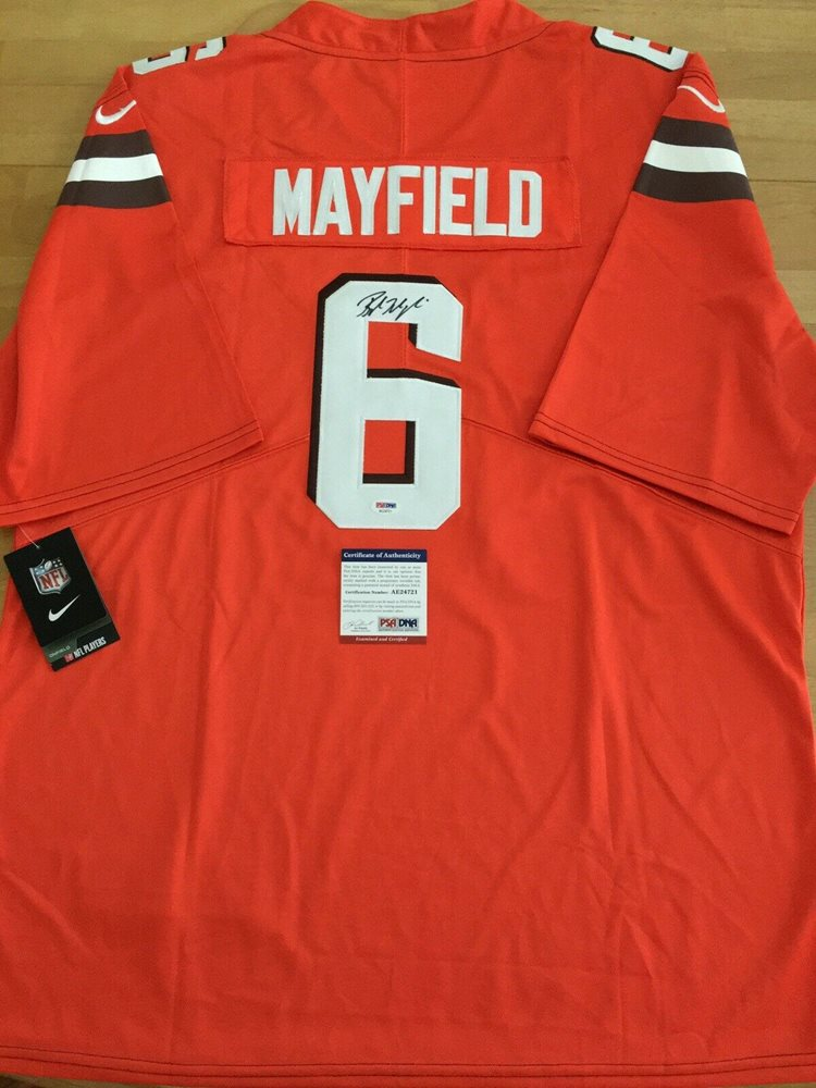 super popular a0f68 f51a2 BAKER MAYFIELD Autographed/Signed Nike Cleveland Browns Orange Jersey COA  PSA