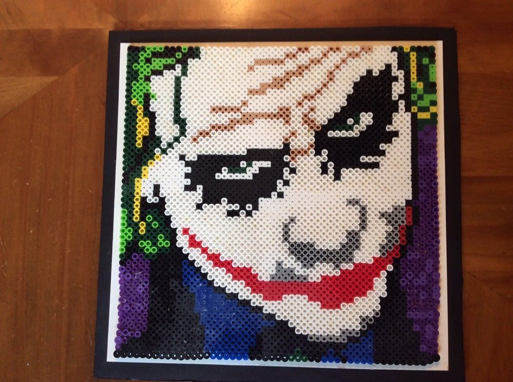 Joker Picture Art Made Of Perler Beads Perler Bead Joker Picture