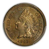 1863 1C Indian Cent - Type 2 Copper-Nickel PCGS MS65