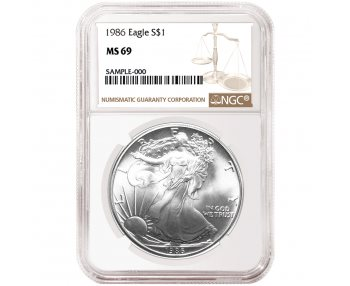 Flag Label 1986 American Silver Eagle NGC MS69