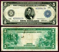1914 $5.00 FR-884 Dallas