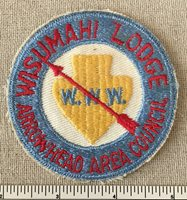 VTG WISUMAHI LODGE 478 Order of the Arrow Round PATCH Arrowhead Area Council ZR1