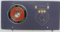Purple Heart ingraved right side front topper plate tag souvenir Marine Corps