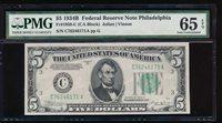 Fr. 1958-C 1934B $5 Federal Reserve Note Philadelphia PMG 65EPQ C76246171A