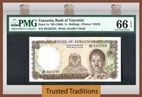 1966 Tanzania 5/ Shillings Pmg 66 Epq Gem Pop Two None Finer