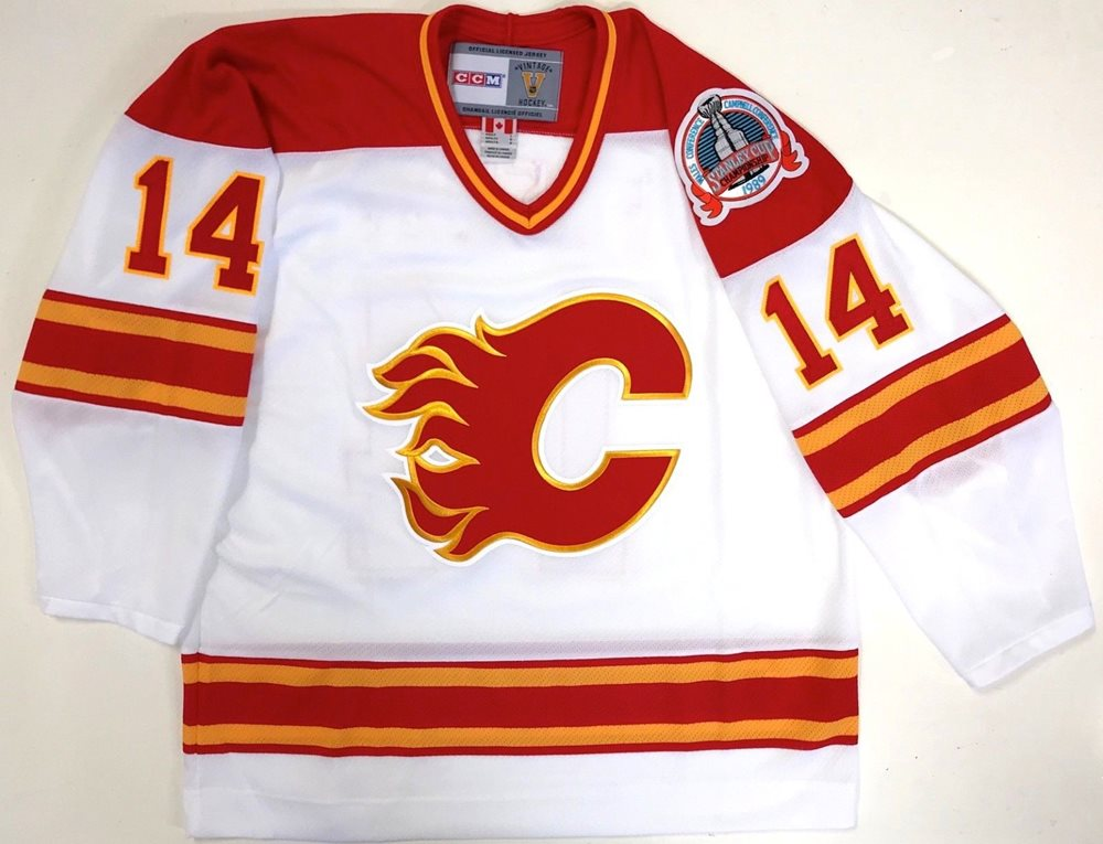 super popular 95630 09fbe THEO FLEURY SIGNED CALGARY FLAMES 1989 STANLEY CUP CCM VINTAGE JERSEY PSA  COA